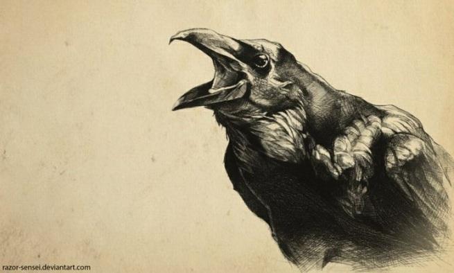 Crow, Drypoint on Perspex, Artist Razor-Sensei @ Deviantart
